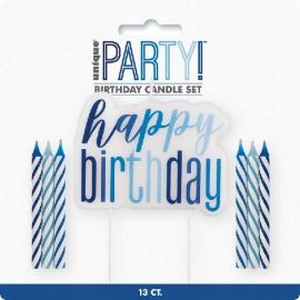 12 GLITZ BLUE CANDLE HAPPY BIRTHDAY PICK 83875 011179838752