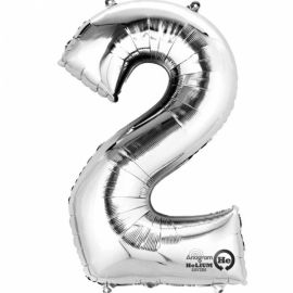 34 INCH SILVER NUMBER 2 BALLOON