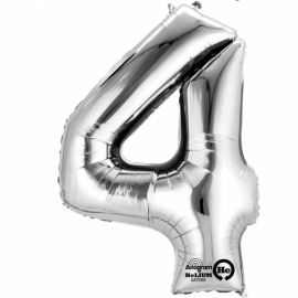 34 INCH SILVER NUMBER 4 BALLOON