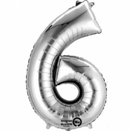 34 INCH SILVER NUMBER 6 BALLOON