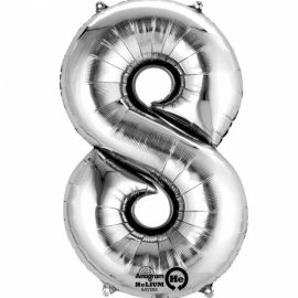 34 INCH SILVER NUMBER 8 BALLOON