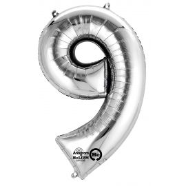 34 INCH SILVER NUMBER 9 BALLOON