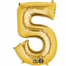 34 INCH GOLD NUMBER 5 BALLOON
