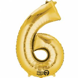 34 INCH GOLD NUMBER 6 BALLOON
