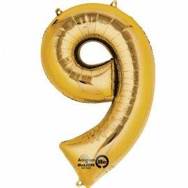 34 INCH GOLD NUMBER 9 BALLOON