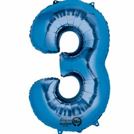 34 INCH BLUE NUMBER 3 BALLOON