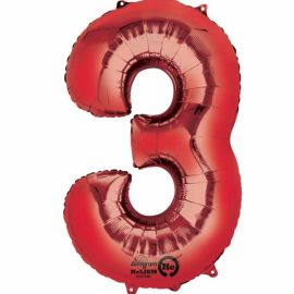 34 INCH RED NUMBER 3 BALLOON