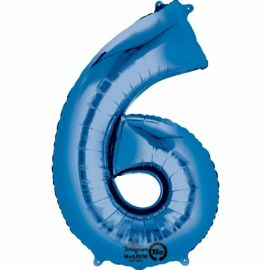 34 INCH BLUE NUMBER 6 BALLOON