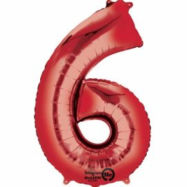 34 INCH RED NUMBER 6 BALLOON