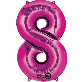 34 INCH PINK NUMBER 8 BALLOON