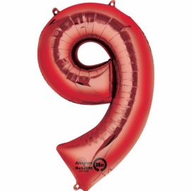 34 INCH RED NUMBER 9 BALLOON
