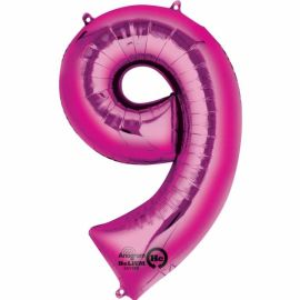 34 INCH PINK NUMBER 9 BALLOON