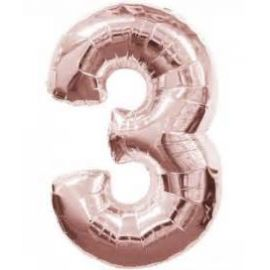 34 INCH ROSE GOLD NUMBER 3 BALLOON