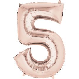 34 INCH ROSE GOLD NUMBER 5 BALLOON