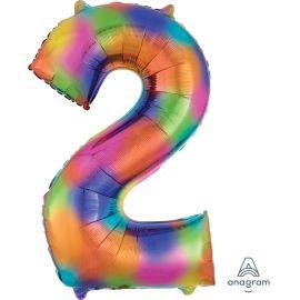 34 INCH NUMBER 2 RAINBOW SPLASH - AMSCAN