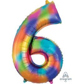 34 INCH NUMBER 6 RAINBOW SPLASH - AMSCAN