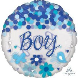 28 INCH SEE THRU BABY BOY CONFETTI BALLOON