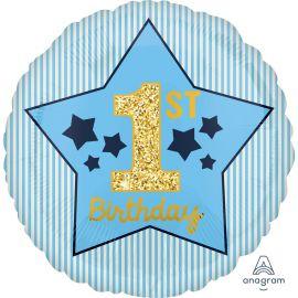 18 INCH 1ST BIRTHDAY BOY BLUE AND GOLD