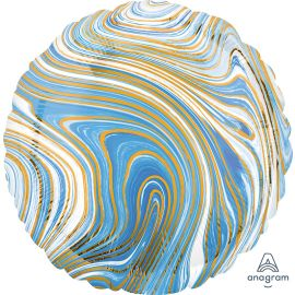 18 INCH BLUE MARBLEZ ROUND FOIL BALLOON