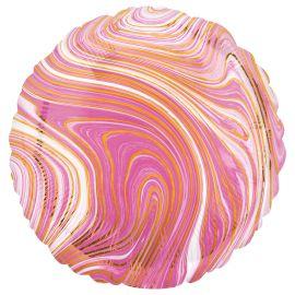 18 INCH PINK MARBLEZ ROUND FOIL BALLOON