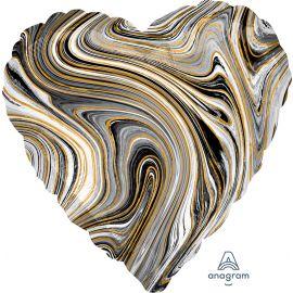 18 INCH BLACK MARBLEZ HEART FOIL BALLOON