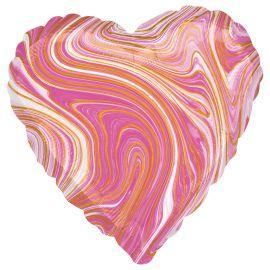 18 INCH PINK MARBLEZ HEART FOIL BALLOON