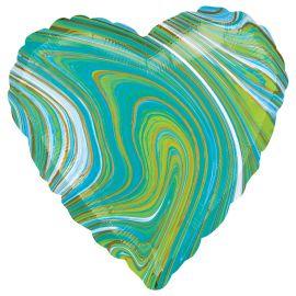 18 INCH BLUE GREEN MARBLEZ HEART FOIL BALLOON