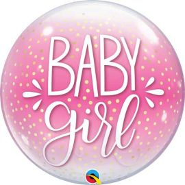 22 INCH SINGLE BUBBLE BABY GIRL PINK & CONFETTI