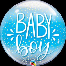 22 INCH SINGLE BUBBLE BABY BOY BLUE & CONFETTI