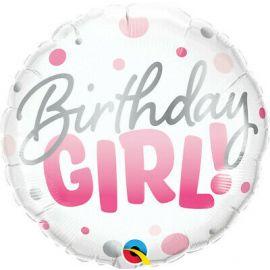 18 INCH BIRTHDAY GIRL PINK DOTS 18877
