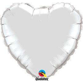 SILVER 18 INCH HEART BALLOON