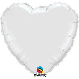 WHITE 18 INCH HEART BALLOON