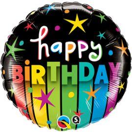 18 INCH BIRTHDAY COLOURFUL STRIPES 25289 071444252843