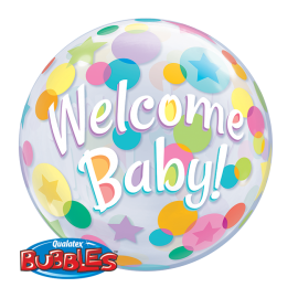 22 INCH BUBBLE WELCOME BABY COLOURFUL DOTS