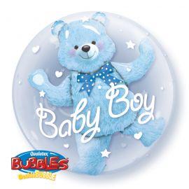 24 INCH  DOUBLE BUBBLE BABY BLUE BEAR