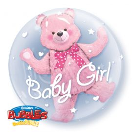 24 INCH DOUBLE BUBBLE BABY PINK BEAR