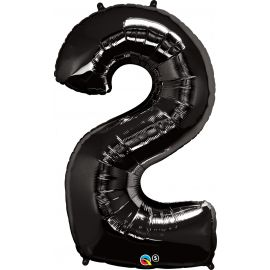 34 INCH NUMBER TWO BLACK BALLOON
