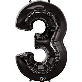34 INCH NUMBER THREE BLACK BALLOON