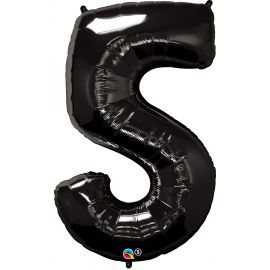 34 INCH NUMBER FIVE BLACK BALLOON