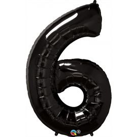 34 INCH NUMBER SIX BLACK BALLOON