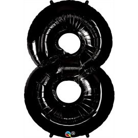 34 INCH NUMBER EIGHT BLACK BALLOON