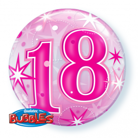 22 INCH AGE 18 PINK BUBBLE BALLOON