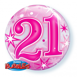 22 INCH AGE 21 PINK BUBBLE BALLOON