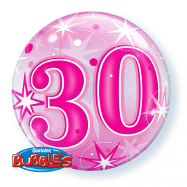 22 INCH AGE 30 PINK BUBBLE BALLOON