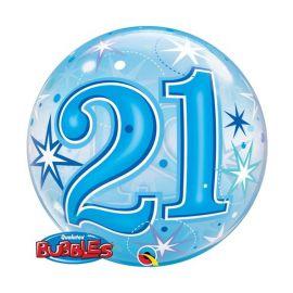 22 INCH 21 BLUE SPARKLE BUBBLE BALLOON