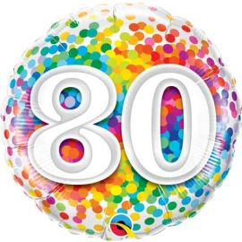 18 INCH RAINBOW CONFETTI AGE 80