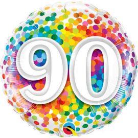 18 INCH RAINBOW CONFETTI AGE 90