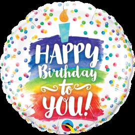 18 INCH HAPPY BIRTHDAY TO YOU RAINBOW CAKE 57298 071444572965