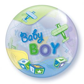 22 INCH SINGLE BUBBLE BABY BOY AIRPLANES