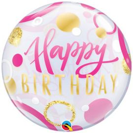 22 INCH SINGLE BUBBLE HAPPY BIRTHDAY PINK & GOLD DOTS